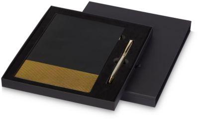Notizbuch Midas, A5, 80 Seiten liniert, Kugelschreiber, Werbedruck 100 x 120 mm, schwarz