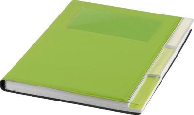 Notizbuch, mit Einsteckfach und Register, grün