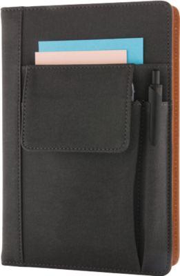 Notizbuch mit Telefontasche, schwarz, Stiftehalter und Hauptfach, wiederverwendbar