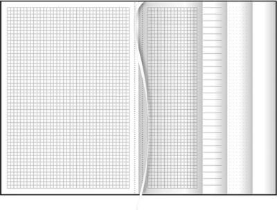 Notizbuch Multibook, DIN A4, je 32 Seiten liniert, kariert, punktiert, blanko, Kunstleder, schwarz