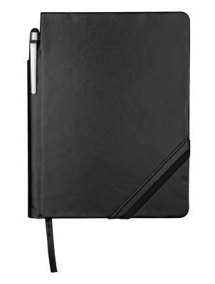Notizbuch Patch-The-Edge, mit Kugelschreiber, DIN A6, mit Gummibandverschluss, schwarz/schwarz