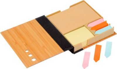 Notizzettel Box Bamboo Note, 300 Haftnotizen & 300 Klebepfeile, Bambus-Etui, Tampondruck 50 x 20 mm