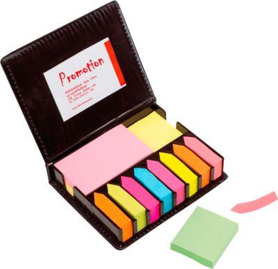 Notizzettel Box Remind Me, 400 Haftnotizen & 1600 Klebepfeile, Kunstleder-Etui, Tampondruck 50 x 20 mm