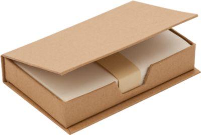 Notizzettelbox aus recycelter Pappe, 180 Blatt recyceltes Papier, natur