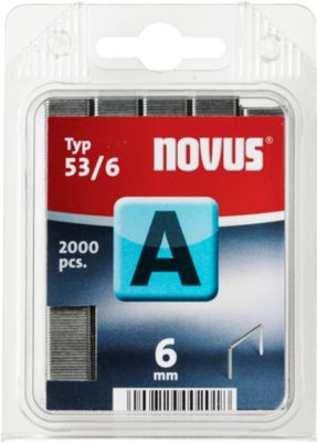 Novus Heftklammern Typ A, Länge 6 mm, Stahldraht, 2000 Stück