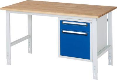 Onderbouw lade voor werktafel, 2 laden met hoogte 1x 120 mm en 1x 360 mm voor hangmappen, licht grijs/gentiaanblauw