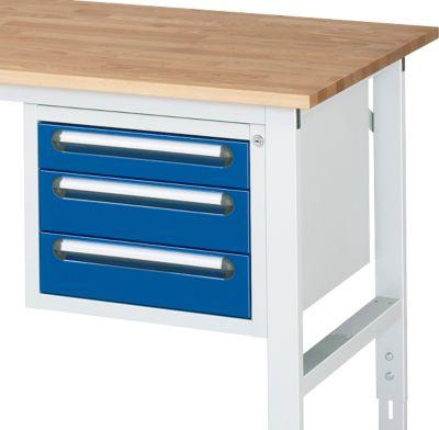 Onderbouw lade voor werktafel, 3 laden met hoogte 1x 90 mm en 2x 120 mm, licht grijs/gentiaanblauw