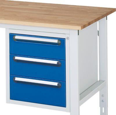 Onderbouw lade voor werktafel, 3 laden met hoogte 2x 150 mm en 1x 180 mm, licht grijs/gentiaanblauw