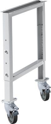 Onderstel voor multiplex-werkbladen WFH707-B1,  in hoogte verstelbaar, 665 x 641 - 853 mm, met wielen, wit alu RAL 6006