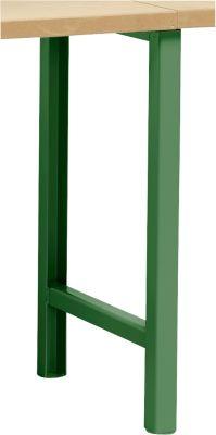 Onderstel voor multiplex-werkbladen WFH707-B1,  niet in hoogte verstelbaar, 665 x 800 mm, groen RAL 6011