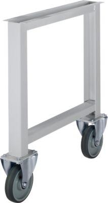 Onderstel voor multiplex-werkbladen WFH707-B1, niet in hoogte verstelbaar, 665 x 800 mm, met wielen, wit alu RAL 9006