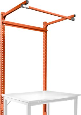 Opbouwframe met oplegger, basistafel STANDAARD inpaktafel-/werkbanksysteem UNIVERSAL/PROFI, 1250 mm, oranjerood