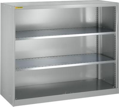 Open kast, met 2 legborden, 1345 mm breed, lichtzilver
