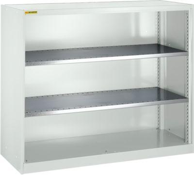 Open kast, met 2 legborden, b 1345 mm, lichtgrijs