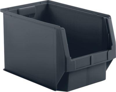 Open opbergbak met voorzijde SSI Schäfer LF 533, gerecycled kunststof (polypropyleen), L 500 x B 312 x H 300 mm, 38 l, grijs ijzer