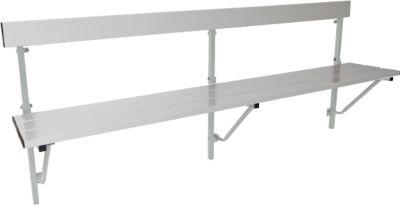Opklapbare bank, aluminium, lengte 2000 mm, lichtgrijs (RAL 7035)
