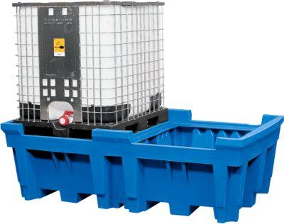 Opslag- en aftapstation voor 1 tankcontainer, met verzinkt rooster