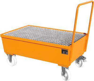 Opvangbak type AW-F2, verrijdbaar, oranje RAL2000