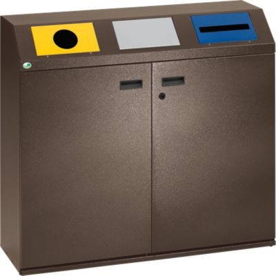 Opvangstation voor recycleerbare materialen, 240 liter, hoekig bovendeel, donkerbruin