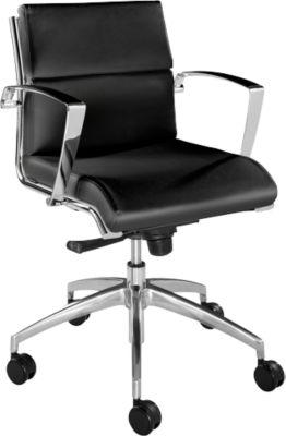 ORIGAMI bureaustoel, halfhoge ruglening 400 mm, met armleningen, zwart