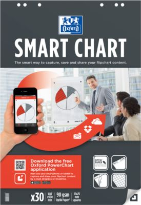 Oxford Flipchart-Block Smart Charts incl. free App PowerChart, geruit