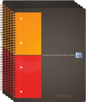 Oxford Notizbuch International, DIN A4, kariert, 80g/qm, 80 Blatt, 5 Stück