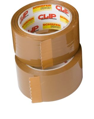 Packband Clip, L 66 m x B 50 mm, 50µ Gesamtstärke, mit Abroller, PP-Folie, braun, 12 Rollen