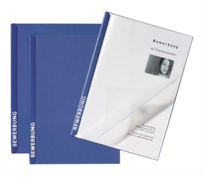PAGNA Bewerbungsmappen Score, 3er Set, DIN A4-Format, Karton, Fassungsvermögen 20 Blatt, blau