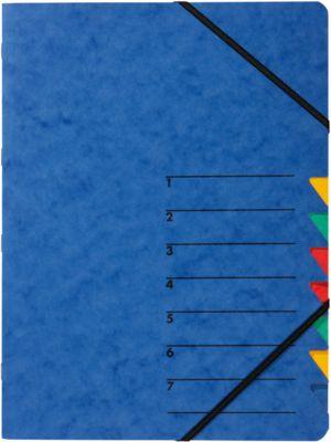 PAGNA Dokumentenmappe Easy, DIN A4, Gummizugverschluss, 7-teilig, blau