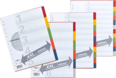 PAGNA Kartonregister mit Deckblatt in Überbreite, zur freien Verwendung, 5 Blätter, 5-farbig