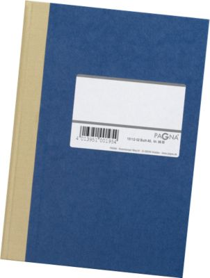 PAGNA Notaboek met harde kaft , met etiket, A5, gelinieerd, blauw, stuk