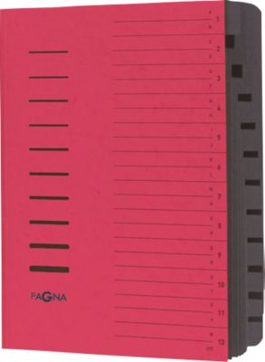 PAGNA Ordnungsmappe, für DIN A4, 12 Fächer, Pressspan, 5 Stück, rot
