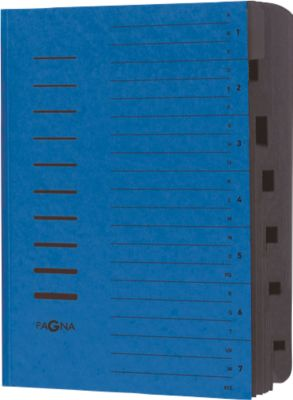 PAGNA Ordnungsmappe, für DIN A4, 7 Fächer, Pressspan, 5 Stück, blau