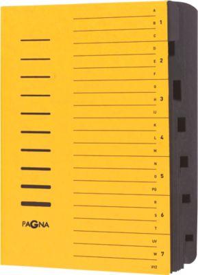 PAGNA Ordnungsmappe, für DIN A4, 7 Fächer, Pressspan, einzeln, gelb