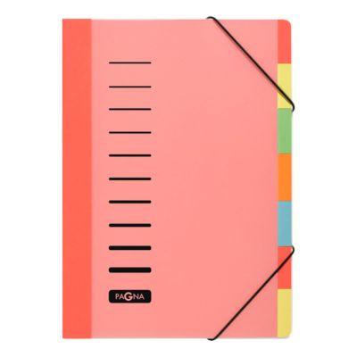 PAGNA PP-sorteermappen Color, 7 tabs, PP, rood