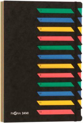 PAGNA Pultordner, für DIN A 4, A-Z, 12 Fächer, Karton, schwarz