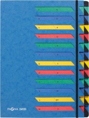 PAGNA Pultordner, für DIN A 4, A-Z, 24 Fächer, Karton, blau