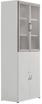 PALENQUE combikast 6 OH, glazen/houten deuren, HM-lade, b 800 x d 420 x h 2160 mm, lichtgrijs