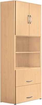 PALENQUE combikast, 6 OH, houten deuren, HM-lade, b 800 x d 420 x h 2160 mm, beukendecor