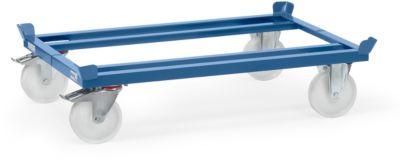 Paletten-Fahrgestell, Stahl, bis 1050 kg, blau,  Polyamid-Bereifung, mit Feststeller
