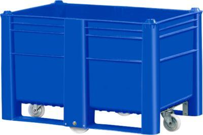 Palletbox, gesloten met 4 wielen
