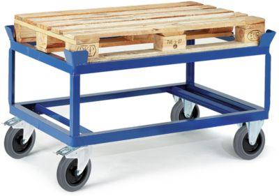 Palletonderstel, gelaste verhoogde laadvloer, elastische massief rubberen banden, 1230 x 830 mm, met een gelaste laadvloer.