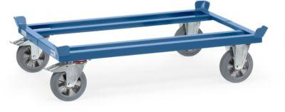 Palletonderstel, staal, tot 1200 kg, blauw, massief rubberen banden, met remmen