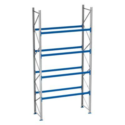 Palletstelling PR 600, basissectie, h 5800 mm, d 1100 mm, max. 800 kg, 4 lengtebalkniveaus