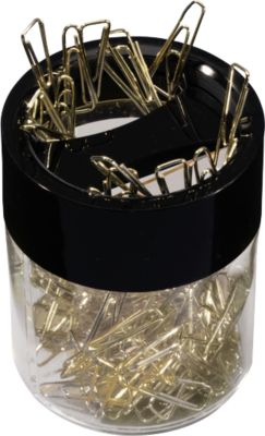 papercliphouder, magnetisch, met 125 messing paperclips