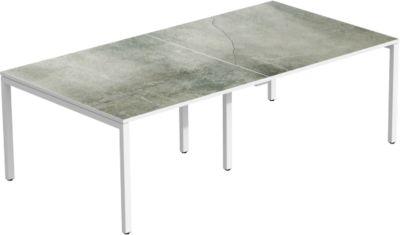Paperflow COLOR vergadertafel, rechthoekig, 6 voet vierkante buis, B 2400 x D 1260 x H 750 mm, betongrijs