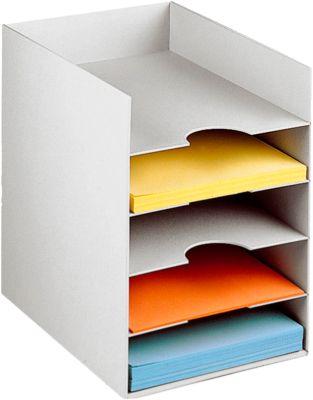 PAPERFLOW Formularbox DIN A4, Polystyrol, für Aktenordner, 5 Fächer, lichtgrau