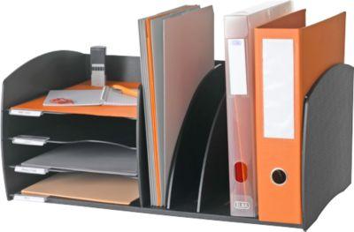 Paperflow Schreibtisch-Organizer, 4 Fächer, Trennelemente verstellbar, schwarz