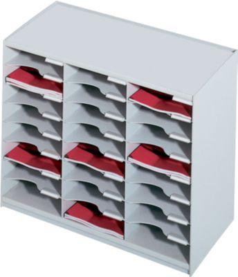 PAPERFLOW Sortierstation, DIN A4, Polystyrol, 24 Fächer, lichtgrau