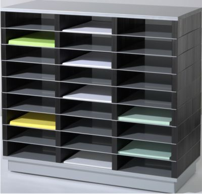 PAPERFLOW Sortierstation, DIN A4, Stahl/Polystyrol, 27 Fächer